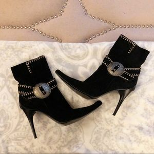 Casadei Black Suede Italian Made Ankle Boots 8.5